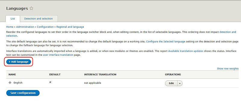 Drupal 8 日本語化手順 メニュー > Configuration > Language > +Add language